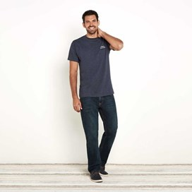 Bones Embroidered Logo Classic Plain T-Shirt Navy Marl