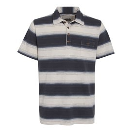 Trekker Short Sleeve Striped Polo Shirt Cadet Blue
