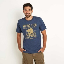 Fish Cycle Graphic T-Shirt Ensign Blue Marl