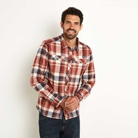 Hirano Brushed Cotton Long Sleeve Check Shirt Ketchup Red