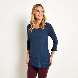 Oregon Embroidered Longer Length T-Shirt Dark Navy