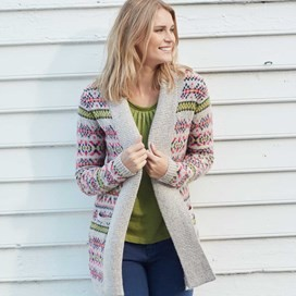 Garcia Fair Isle Longer Length Cardigan Porridge