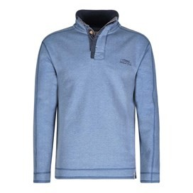 Genie Button Neck Sweatshirt Washed Blue