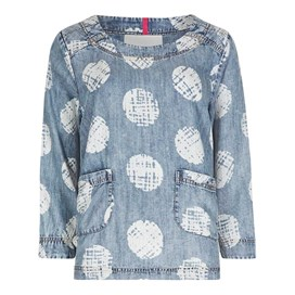 Ranbir Printed 3/4 Length Sleeve Top Blue Surf