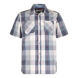 Rewind Cotton Short Sleeve Check Shirt Gunmetal