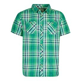 Dirge Seersucker Short Sleeve Check Shirt Bright Green