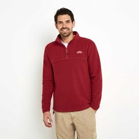Rawn Honeycomb 1/4 Zip Soft Knit Top Barberry Red