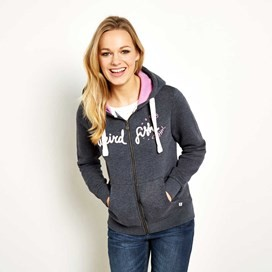Polly Full Zip Applique Hoodie Navy