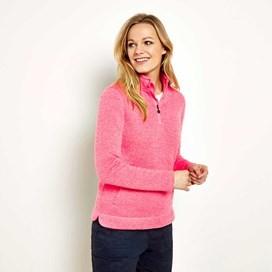 Bluebell Plain 1/4 Zip Soft Knit Fleece Sweatshirt Hot Pink