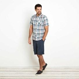 Silverbolt Herringbone Short Sleeve Check Shirt Powder Blue
