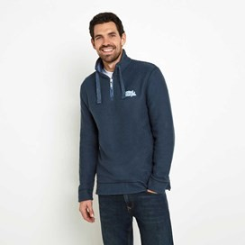 Windu 1/4 Zip Ribbed Collar Macaroni Sweatshirt Moonlight Blue