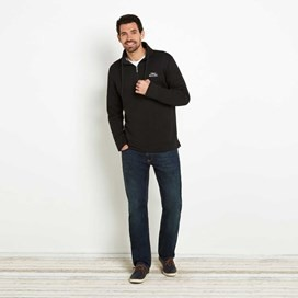 Bryn 1/4 Zip Birdseye Sweatshirt Washed Black