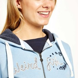 Polly Full Zip Applique Hoodie Blue Surf