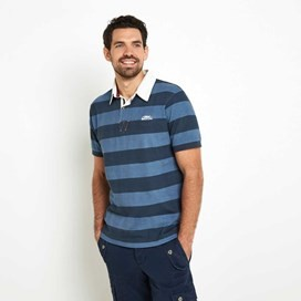 Straits Printed Stripe Rugby Shirt Washed Blue