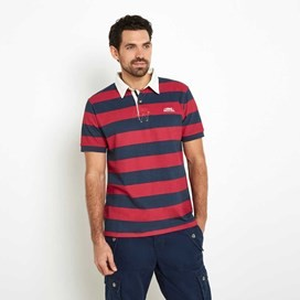 Straits Printed Stripe Rugby Shirt Barberry Red