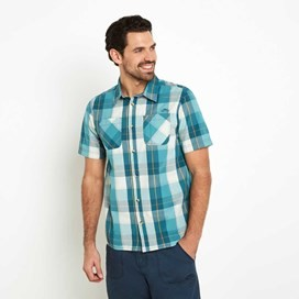 Rewind Cotton Short Sleeve Check Shirt Dark Jade