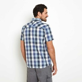 Octane Cotton Short Sleeve Check Shirt Moonlight Blue