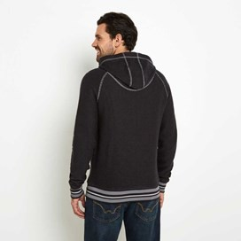 Adgar Striped Rib Full Zip Macaroni Hoodie  Washed Black