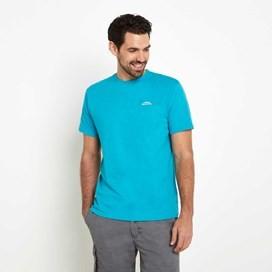 Bones Embroidered Logo Classic Plain T-Shirt Ocean Blue Marl