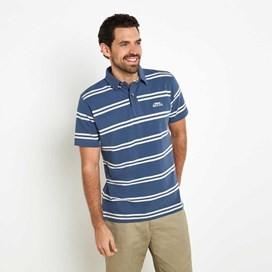 Halen Striped Pique Polo Shirt Vintage Blue