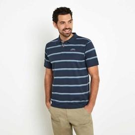 Steel Striped Jersey Polo Shirt Moonlight Blue