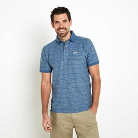 Lando Textured Stripe Polo Shirt Washed Blue