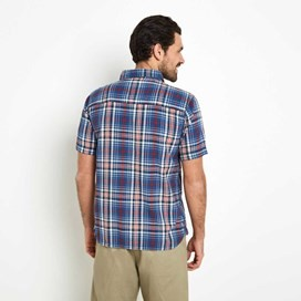 Dirge Seersucker Short Sleeve Check Shirt Vintage Blue