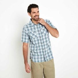Dirge Seersucker Short Sleeve Check Shirt Washed Blue