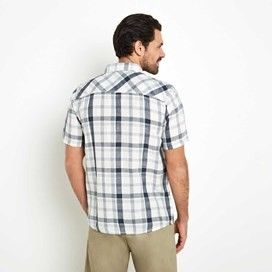 Huff Cotton & Linen Mix Short Sleeve Check Shirt Moonlight Blue