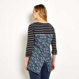 Amala Longer Length Printed Back T-Shirt  Navy