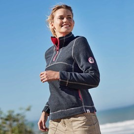Sunita 1/4 Zip Windcheater Lined Active Macaroni Sweatshirt Navy