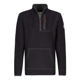 Thor 1/4 Zip Technical Macaroni Sweatshirt Washed Black