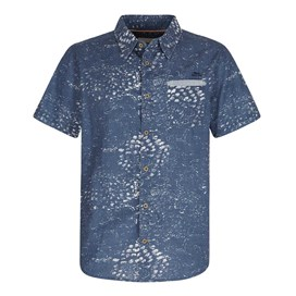 Elijah Short Sleeve Printed Slub Shirt Ensign Blue