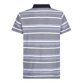 Fernley Pique Stripe Polo Shirt Dark Navy