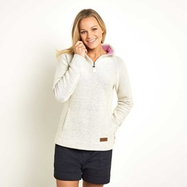 Augusta 1/4 Zip Seira Knit Sweatshirt Cream