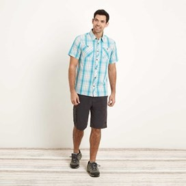 Kale Cotton Short Sleeve Checked Shirt Ocean Blue