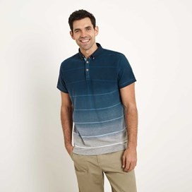 Dio Printed Fade Stripe Polo Shirt Moonlight Blue