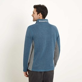 Oyron 1/4 Zip Technical Birdseye Sweatshirt Washed Blue
