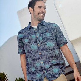 Render Hawaiian Short Sleeve Shirt Moonlight Blue