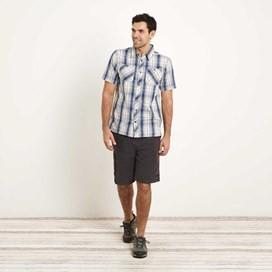 Kale Cotton Short Sleeve Checked Shirt Vintage Blue