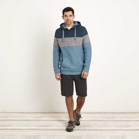 Bossk 1/4 Zip Striped Macaroni Hoodie Washed Blue