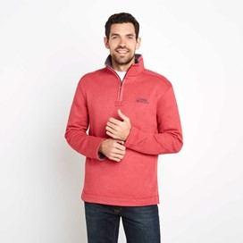 Hail 1/4 Zip Embroidered Sweatshirt Barberry Red