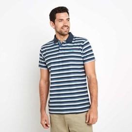 Isonoe Textured Stripe Polo Shirt Moonlight Blue