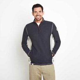 Vaileo 1/4 Zip Fleece Lined Macaroni Sweatshirt Dark Navy
