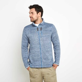 Staten Herringbone Soft Knit Jacket Washed Blue