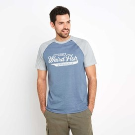 Ling Graphic Print T-Shirt Washed Blue Marl