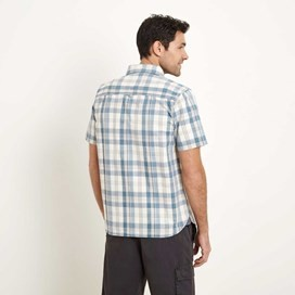 Mammon Checked Short Sleeve Cotton Shirt Washed Blue