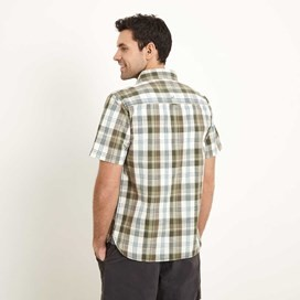Mammon Checked Short Sleeve Cotton Shirt Dark Olive