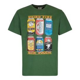 6 Pack Beer Cans Artist T-Shirt Olive