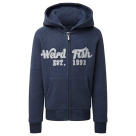 Row Applique Hoodie Dark Denim
